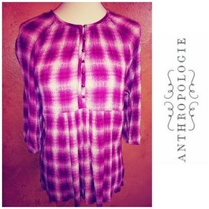Anthropologie MAEVE Plaid Blouse S